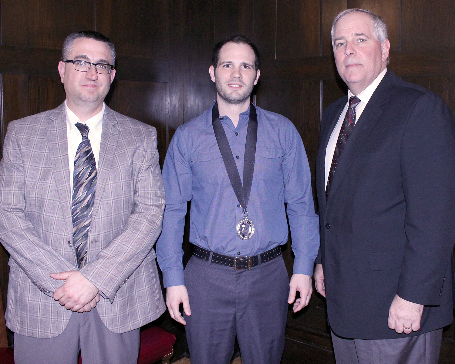 Pictured from left to right: Dean of Robotics & Manufacturing E.J. Daigle, Micah Thorson and College President Rich Wagner